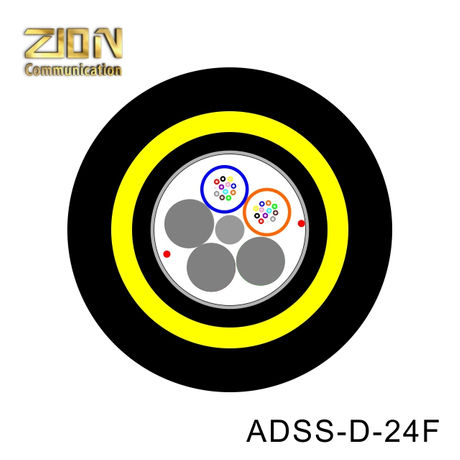 ADSS Cable 24F Fibra óptica,Double Jacket PE All Dielectric self-supporting Aerial,Loose Multi-tube,Aramid yarn,water blocking compound
